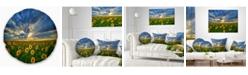 "Design Art Designart 'Beauty Sunset Over Sunflowers' Landscape Printed Throw Pillow - 16"" Round"
