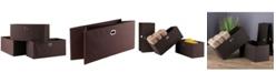 Winsome Torino 3-Pc Set Folding Fabric Baskets Chocolate