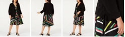 Bar III Plus Size Printed Blouse, Belted Skirt & Open-Front Jacket, Created for Macy's