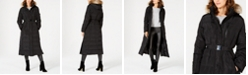 Michael Kors Belted Faux-Fur Trim Hooded Maxi Down Coat