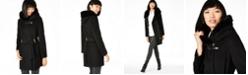 Calvin Klein Petite Belted Faux-Fur Trim Coat