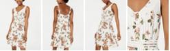 American Rag Juniors' Printed Crochet-Trimmed Mini Dress, Created for Macy's
