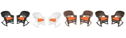 Jeco Rocker Wicker Chair with Cushion - Set of 2