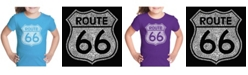 LA Pop Art Girl's Word Art T-Shirt - Cities Along The Legendary Route 66