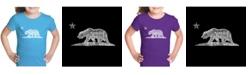 LA Pop Art Girl's Word Art T-Shirt - California Bear