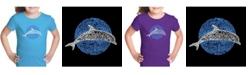 LA Pop Art Girl's Word Art T-Shirt - Species of Dolphin