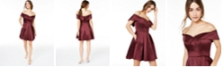 B Darlin Juniors' Off-The-Shoulder Satin Dress, Created for Macy's