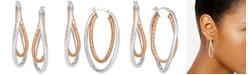 Macy's Two-Tone Textured & Polished Twist Hoop Earrings in Sterling Silver & 18k Rose Gold-Plate