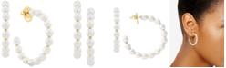 Macy's Cultured Freshwater Pearl (4-1/2mm) Hoop Earrings in 14k Gold-Plated Sterling Silver