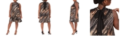 Robbie Bee Metallic Animal-Print Trapeze Dress