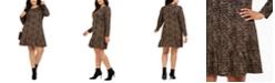 Michael Kors Plus Size Printed Ruffled-Hem A-Line Dress