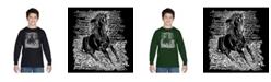 LA Pop Art Boy's Word Art Long Sleeve T-Shirt - Popular Horse Breeds