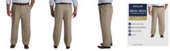 Haggar Men's Big & Tall Iron Free Premium Khaki Classic-Fit Pleated Pant
