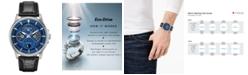 Citizen Eco-Drive Men's Calendrier Black Leather Strap Watch 44mm