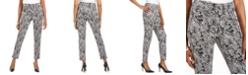 JM Collection Petite Jaquard Pull-On Pants, Created For Macy's