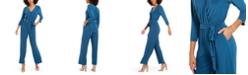 NY Collection Petite Surplice-Neck Jumpsuit