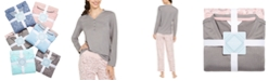 Charter Club Super Soft Knit Henley Top & Printed Pants Pajamas Set, Created For Macy's