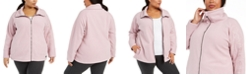 Calvin Klein Plus Size Mock-Neck Logo-Sleeve Sweater