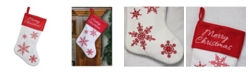 "Northlight 15.25"" Red and White ""Merry Christmas"" Snowflake Embroidered Christmas Stocking"