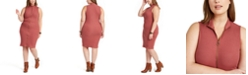 Planet Gold Trendy Plus Size Juniors' Sleeveless Zip-Front Sweater Dress