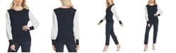 DKNY Striped-Sleeve Ribbed-Edge Sweater