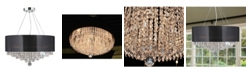 Worldwide Lighting Gatsby 8-Light Chrome Finish and Clear Crystal Chandelier with Acrylic Drum Shade