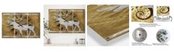 "Designart Patterned Walking White Moose Large Traditional 3 Panels Wall Clock - 23"" x 23"" x 1"""