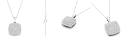 "Macy's Diamond Square Cluster Pendant Necklace (1/2 ct. t.w.) in Sterling Silver, 16"" + 2"" extender"