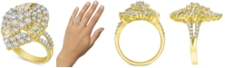 Macy's Diamond Cluster Pear-Shaped Statement Ring (2 ct. t.w.) in 10k Gold