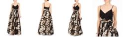 Eliza J Metallic Floral-Print Gown