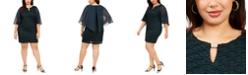 Connected Plus Size Capelet Sheath Dress