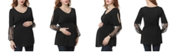 kimi + kai Gisel Embroidered Mesh Maternity Blouse