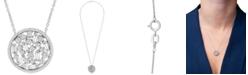 "Macy's Diamond Openwork Disc 18"" Pendant Necklace (1/2 ct. t.w.) in 10k White Gold"