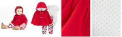 Carter's Baby Girls 3-Pc. Fleece Hoodie, Dot-Print Bodysuit & Floral-Print Pants Set