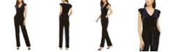 Jessica Howard Petite Flutter Sleeve Velvet Jumpsuit
