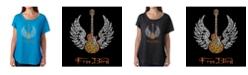 LA Pop Art Women's Dolman Cut Word Art Shirt - Lyrics to Freebird