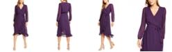 Q & A Ruffle Hem Midi Wrap Dress