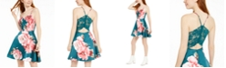 City Studios Juniors' Lace-Back Floral-Print Fit & Flare Dress