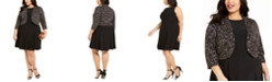 Jessica Howard Plus Size Fit & Flare Dress & Embroidered Bolero Jacket