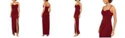 Emerald Sundae Juniors' Ruched Faux-Wrap Slip Dress