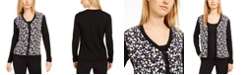 Anne Klein Mayfair Printed Woven-Front Sweater