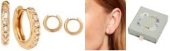 "Olivia Burton White Topaz Small Huggie Hoop Earrings, 0.5"""