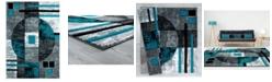 "Asbury Looms Bristol Epsilon 2050 10169 912 Turquoise 7'10"" x 10'6"" Area Rug"