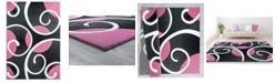 """Asbury Looms Bristol Riley 2050 10386 28C Pink 2'7"""" x 7'4"""" Runner Rug"""
