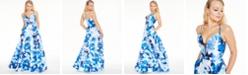Sequin Hearts Juniors' Floral-Print Double-Strap Gown