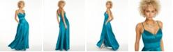 City Studios Juniors' Stretch Satin Faux-Wrap Gown