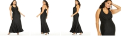 City Studios Trendy Plus Size Pleated Plunge Gown