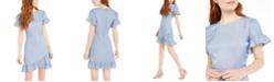 City Studios Juniors' Chambray Ruffle-Hem Dress
