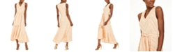 Calvin Klein Striped Belted Maxi Dress