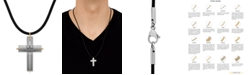 """Macy's Two-Tone Leather Cord Cross 24"""" Pendant Necklace in Stainless Steel & 18k Gold"""